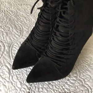 Zara lace up stiletto boots. Black faux suede.